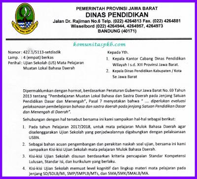 Kisi Kisi US Bahasa Sunda Tahun 2017/2018 Resmi Dari Pemprov