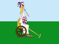 Cartoon of Britannia post Brexit by Wendy Cockcroft for On t'Internet