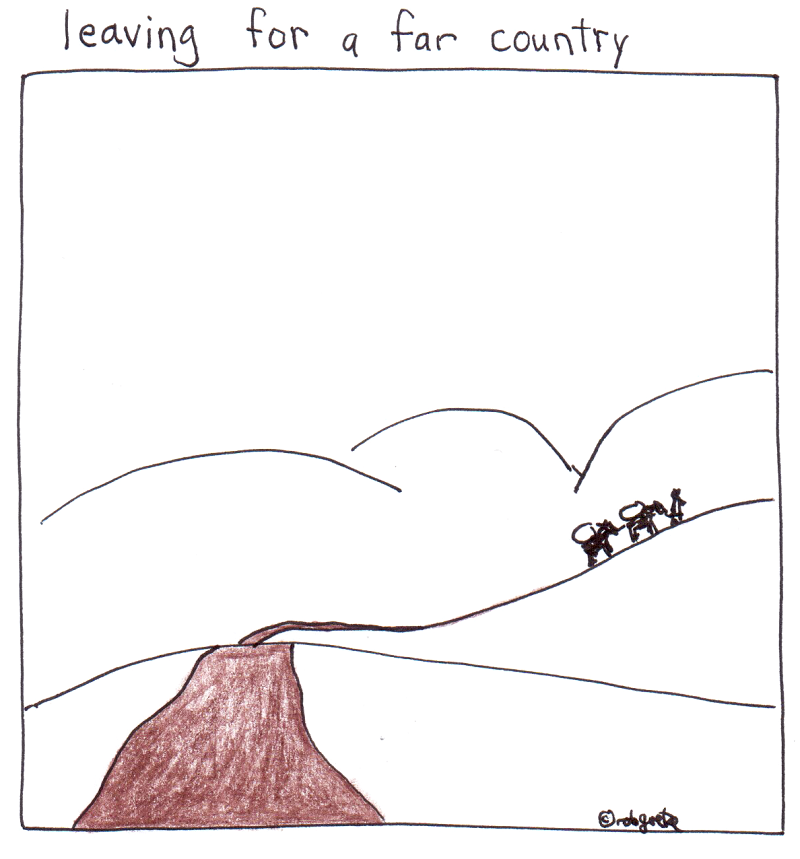 leaving for a far country, drawing by rob g
