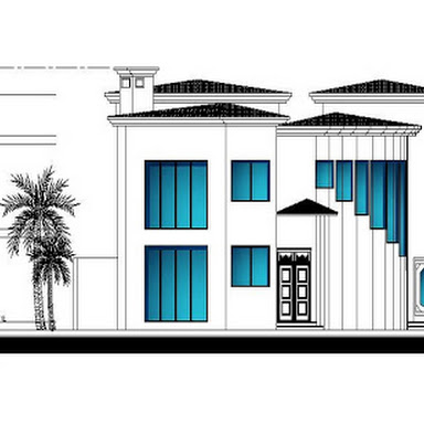 Two story villa architectural and structural autocad plans / 215 square meter each floor