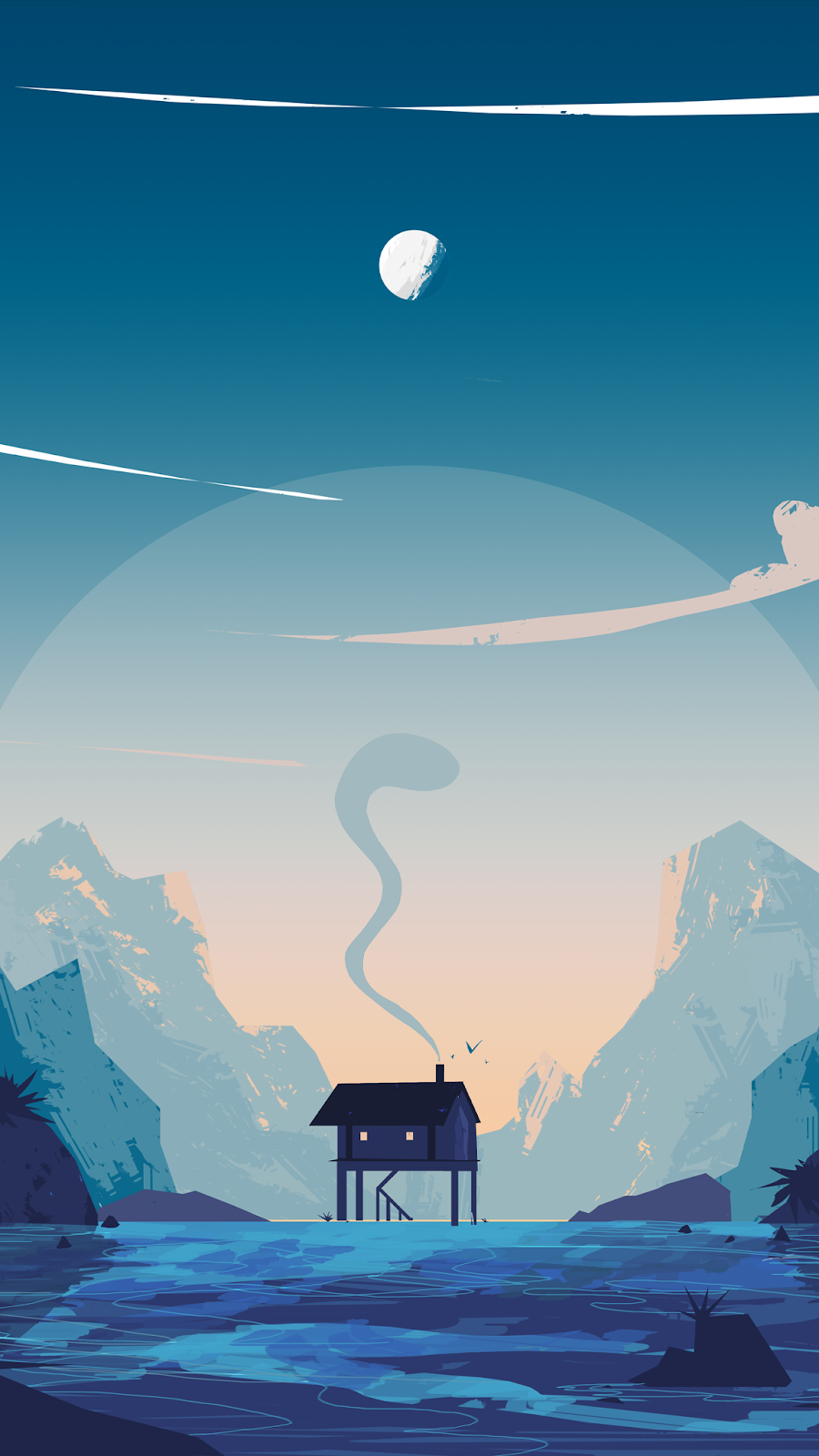 a beautiful illustration of a house. Main color blue wallpaper in HD