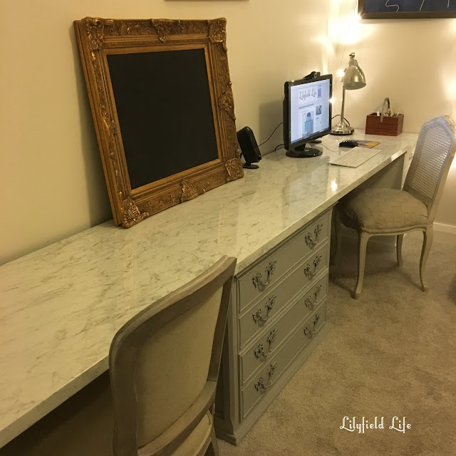 desk idea benchtop marble