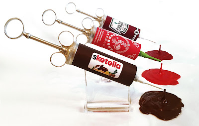 Condiment Junkie Sketchup, Sketracha & Sketella Resin Sculptures by Sket One