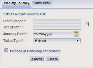 irctc plan my journey option for booking tickets