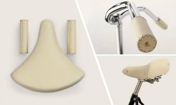 Complementos para bicicletas de paseo, Pack Sillín + puños Ramonas Classic color marfil