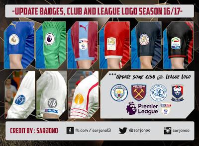 PES 2016 UPDATE Badges, Club and League Logo Season 16/17 by Sarjono