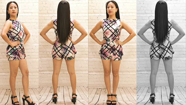 Asian Model in Pretty Floral Romper, With Black Stripe Pattern Design. Fashion Haul, Studio Edition (RMNOnline.net)