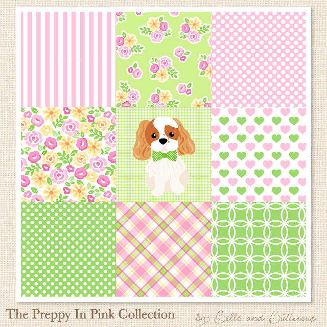 Preppy pink and green surface patterns for stickers and fabric