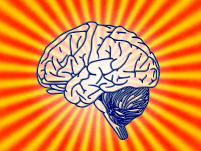 picture of a brain in front of a jazzy retro-comics background