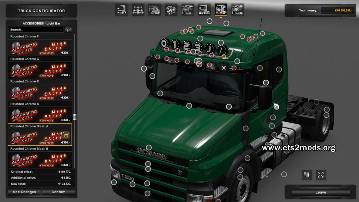 Numeric and Alphabetic Lights Mod - Scania T