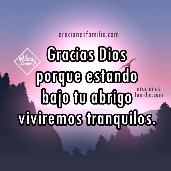 imagen con oración para dormir en la noche con la protección de Dios