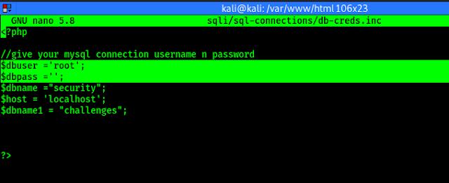 Cambiar el nombre de usuario y la contraseña de la base de datos sqlilabs