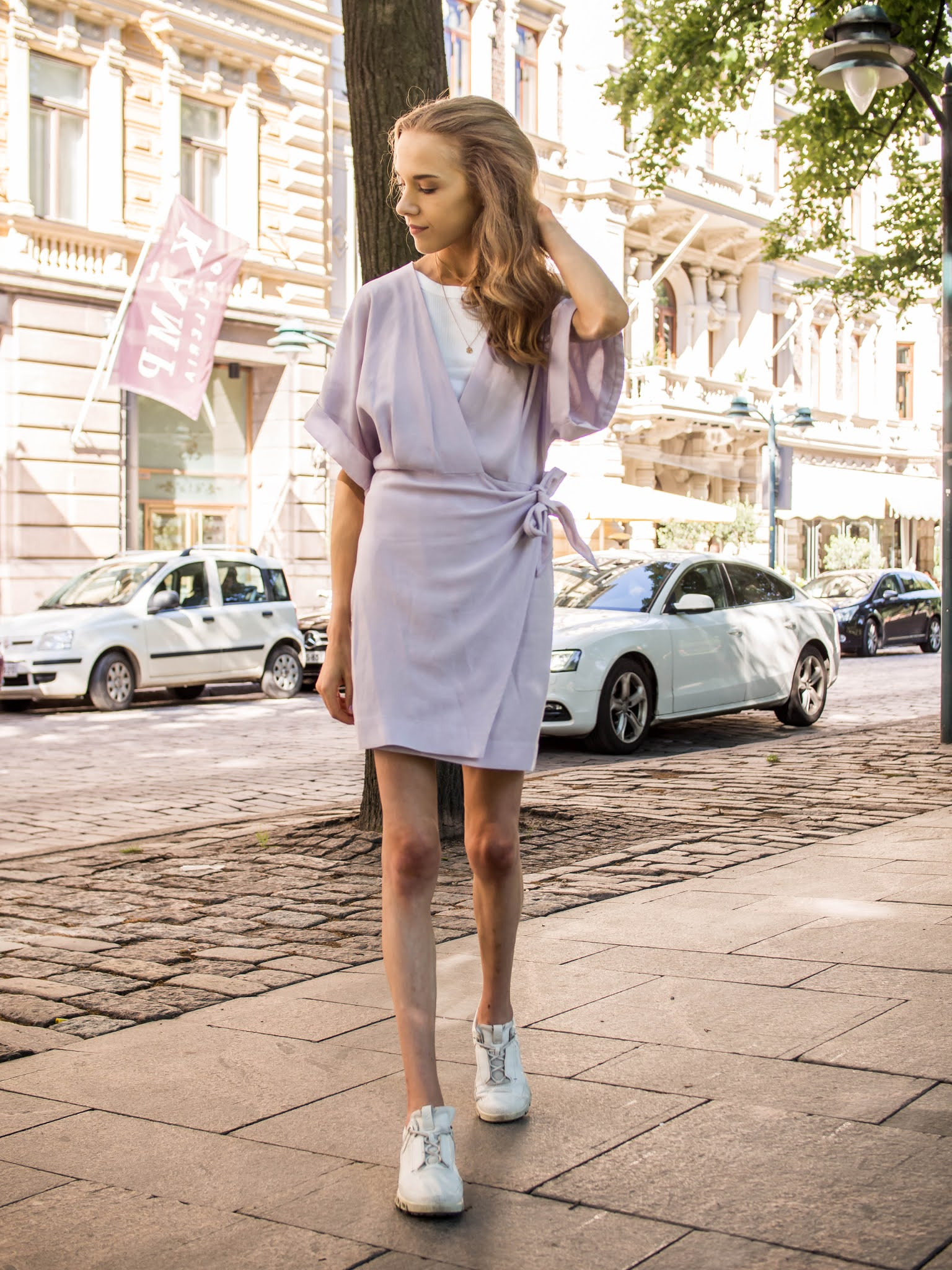 &Other Stories lilac mini wrap dress - Vaaleanvioletti mekko