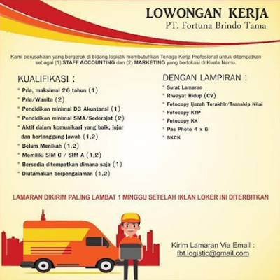 Lowongan Kerja Medan Terbaru Juni 2020 di PT Fortuna Brindo Tama Sebagai Staff Accounting & Marketing