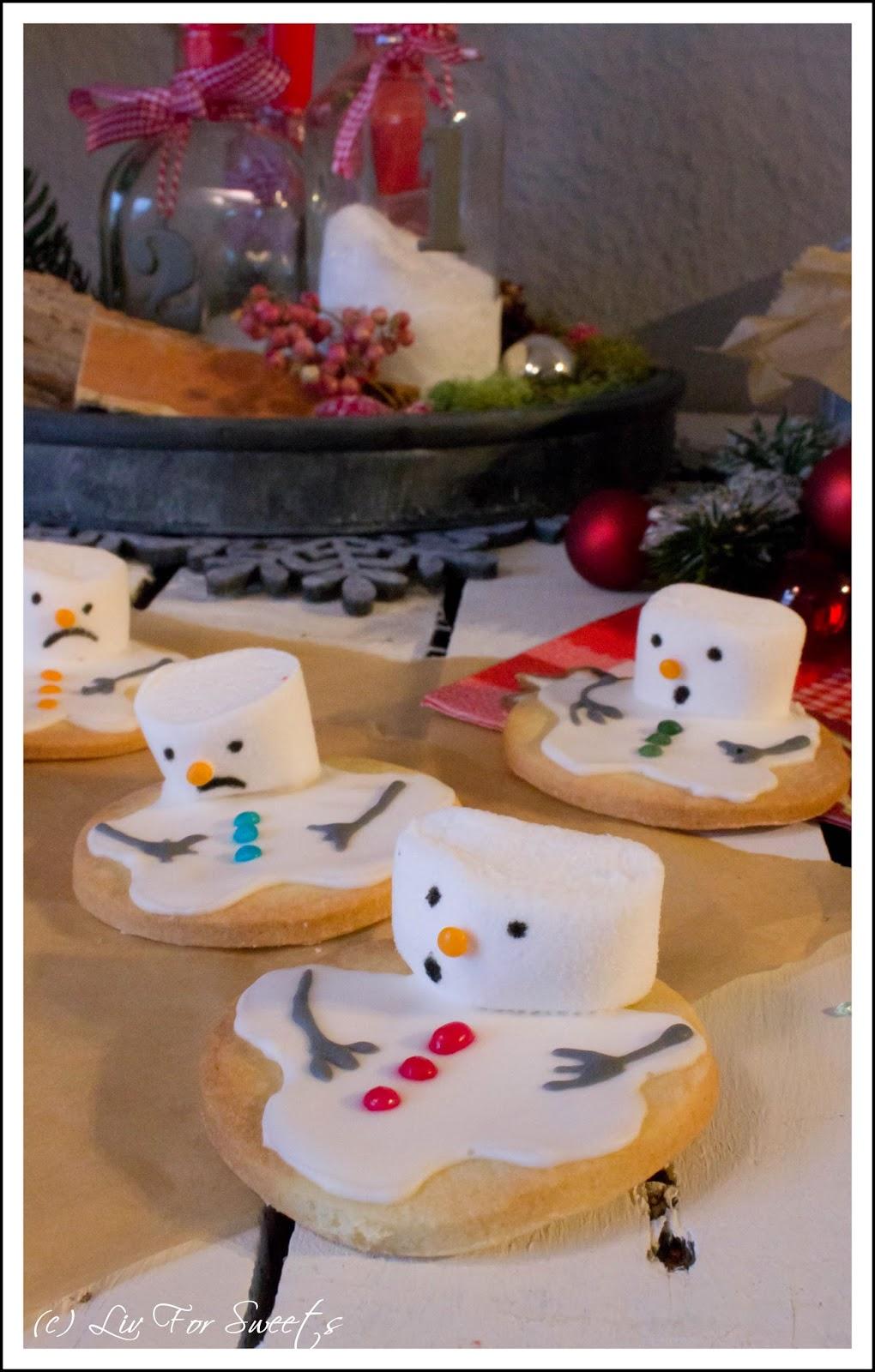 Schneemann-Kekse mit Marshmallows und Zuckerguss, Mürbeteig, Weihnachten, Plätzchen, Rezept, Thermomix