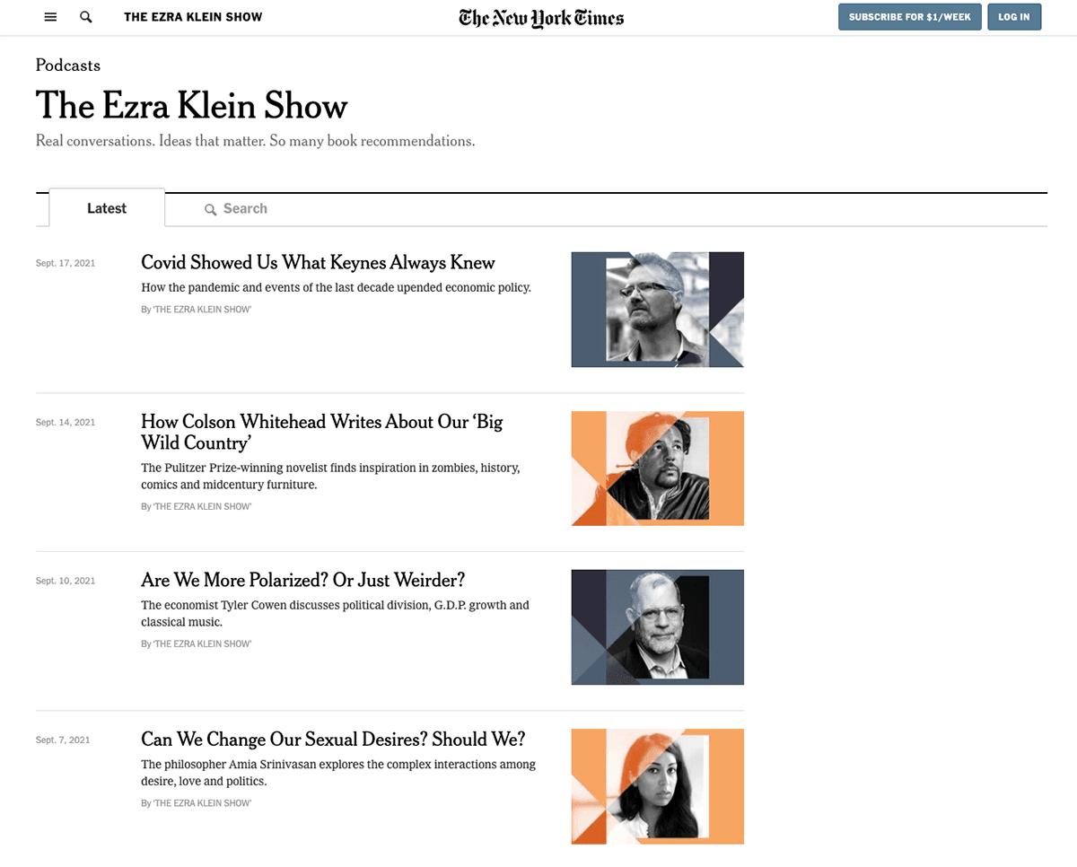 website podcast example: Ezra Klein Show