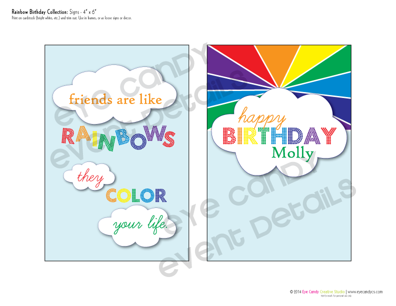 rainbow party, rainbow birthday party signs, friends are like rainbows they color your life