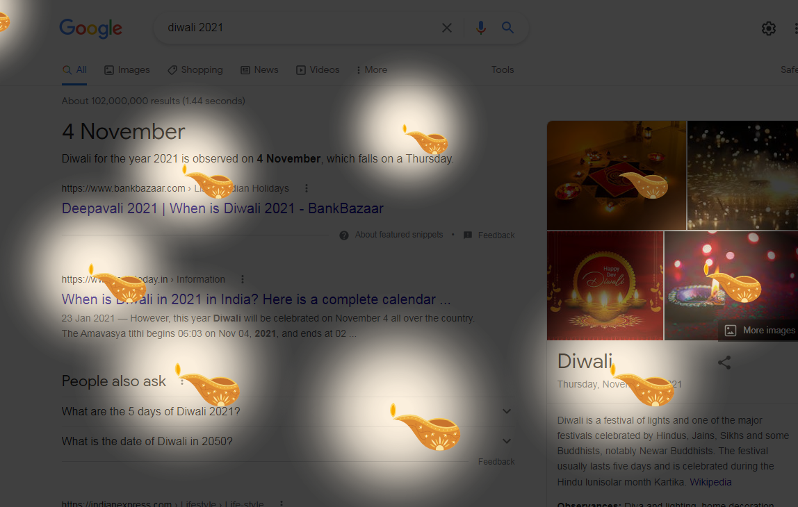 Two Beautiful Google Tricks - Happy Diwali and Happy Holi