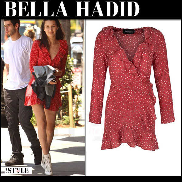 Bella Hadid in red dot print realisation the diane mini dress and white tamara mellon crossline ankle boots what she wore