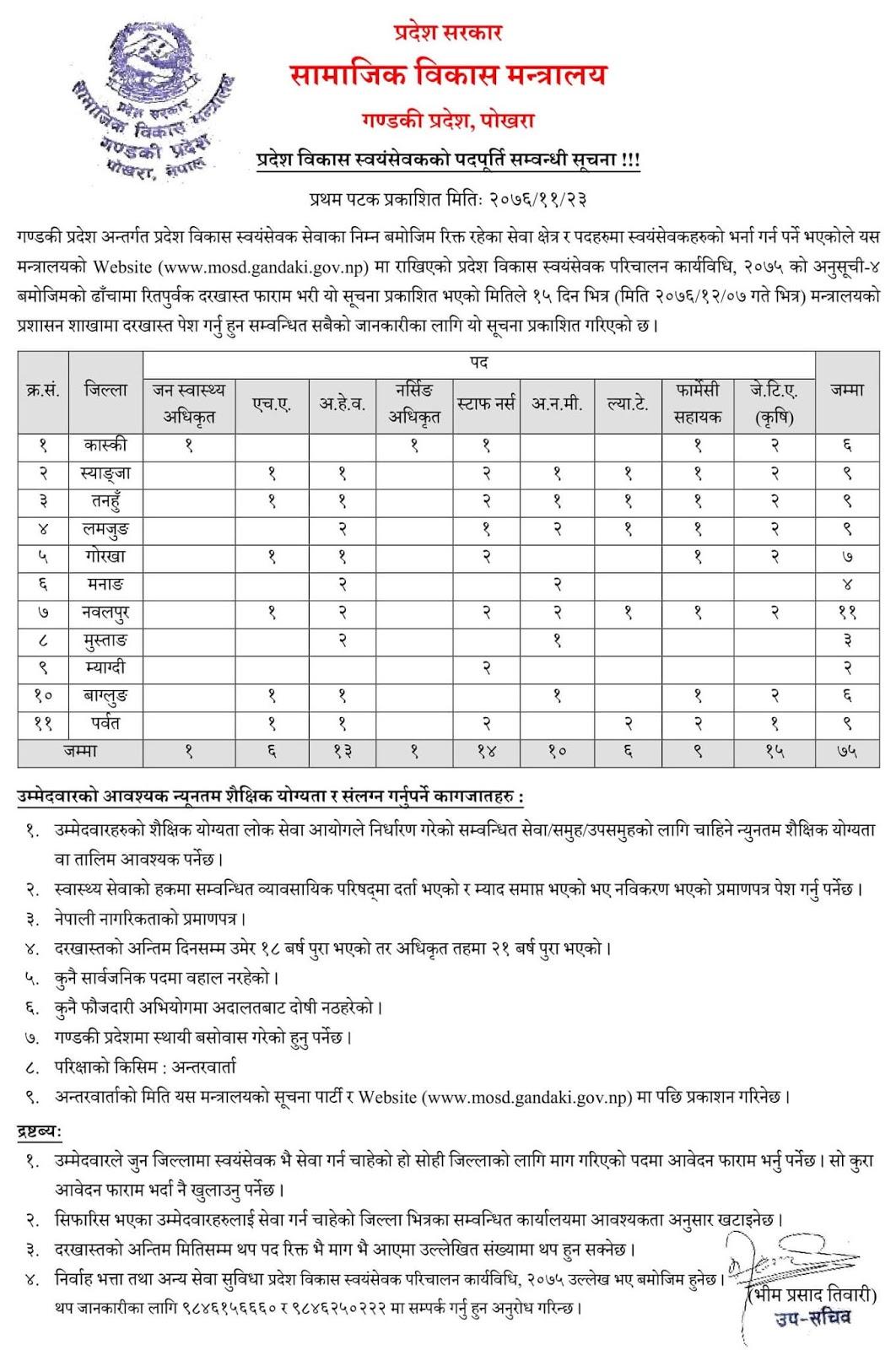 Ministry of Social Development Gandaki Province Volunteer Recruitment