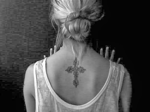 Tattoo Train Crescent Cross Tattoo On Back Of Girl Tattoo Ideas For