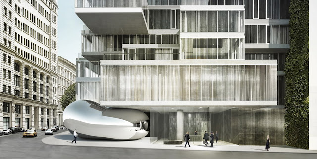 Rendering of 56 Leonard Street by Herzog & De Meuron at street level with traffic and pedestrians