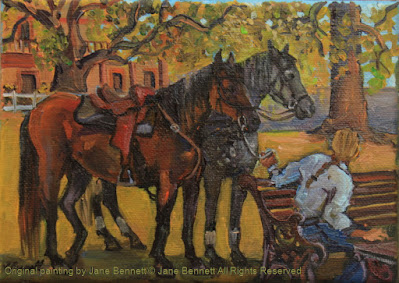 plein air oil painting of horses in Thompson's Square, Windsor,  painted by artist Jane Bennett