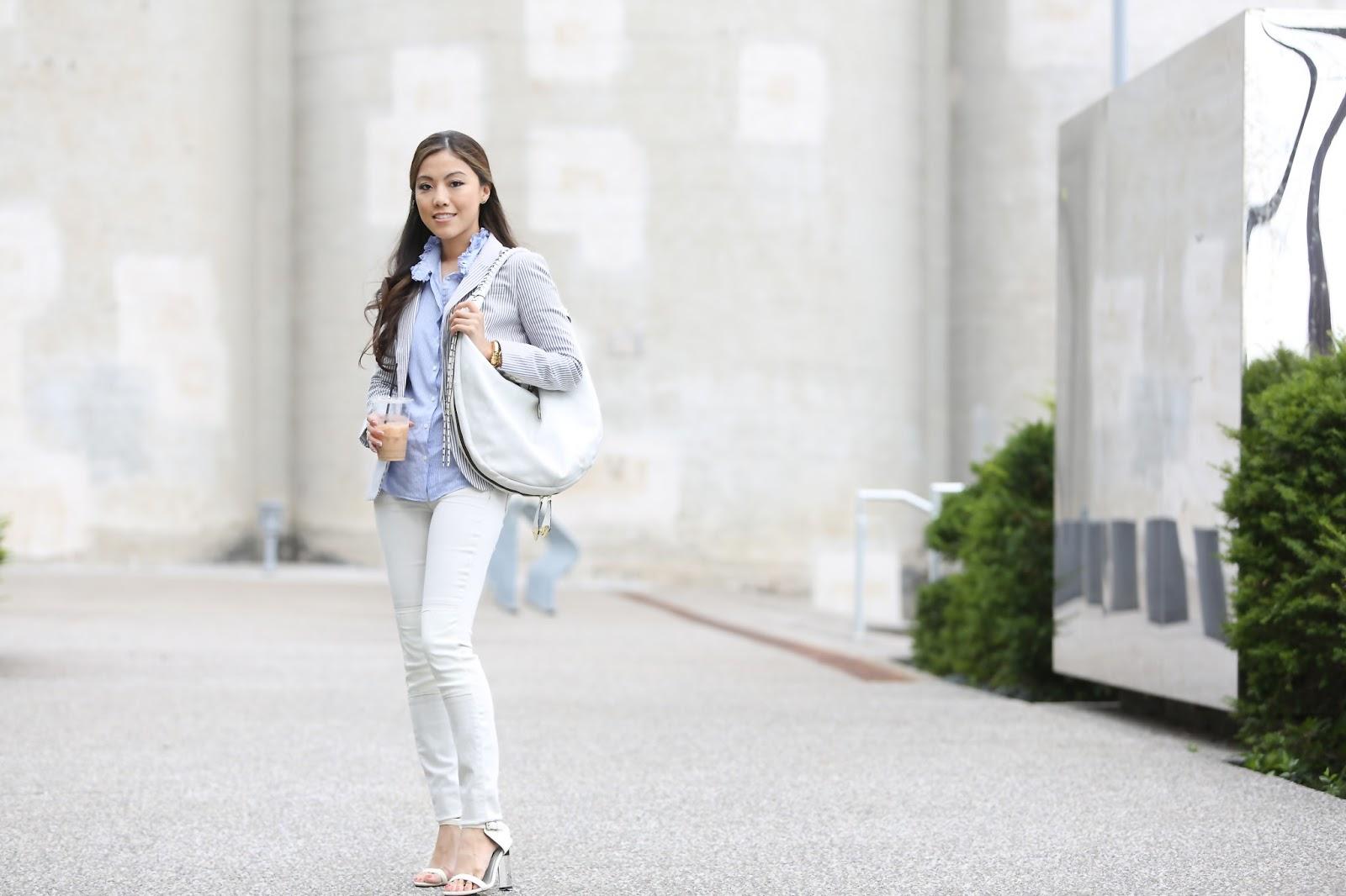 acdcd0a598 J.Crew shirt. Banana Republic striped suit jacket. J Brand leather knee  skinny. SENSO sasha II Oryany shoulder bag (in Azzuro & Cameo) Seiko mens  watch