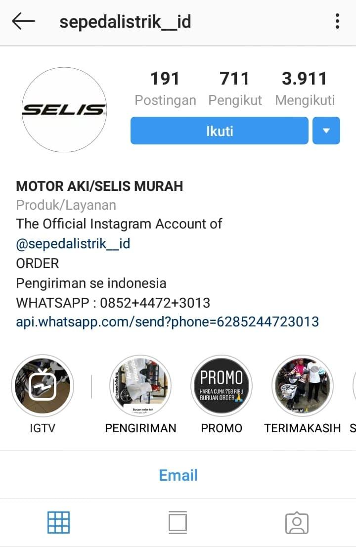 Akun Instagram @sepedalistrik_id Lakukan Penipuan, Kenali Modusnya