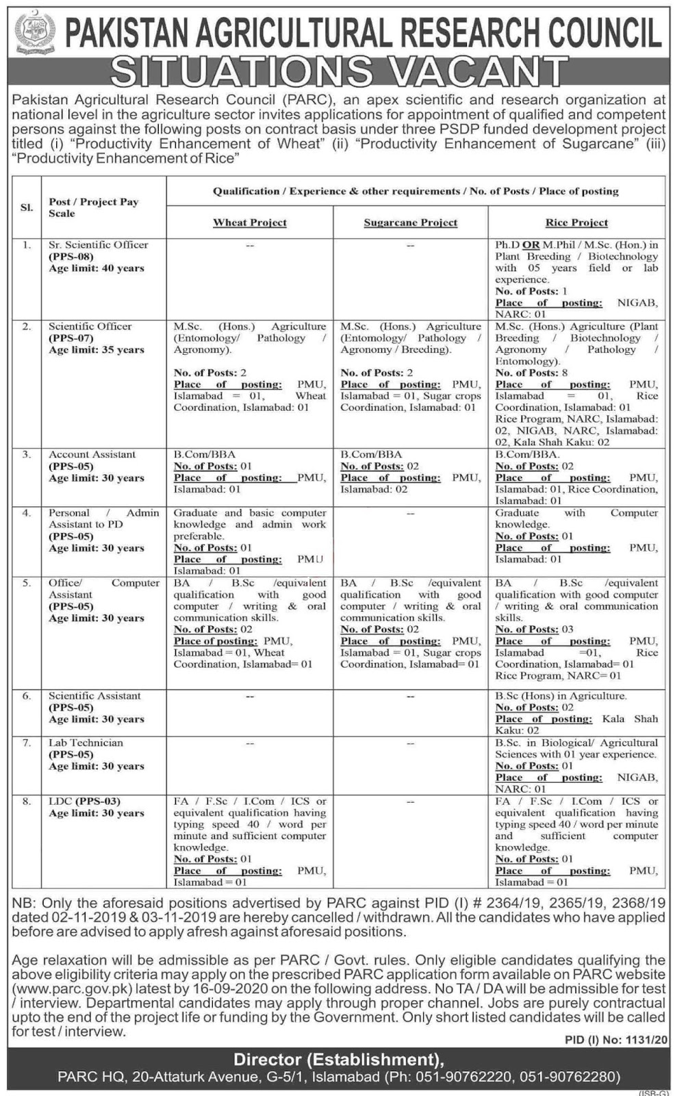 PARC Islamabad Jobs 2020 for Scientific Officer & Assistant