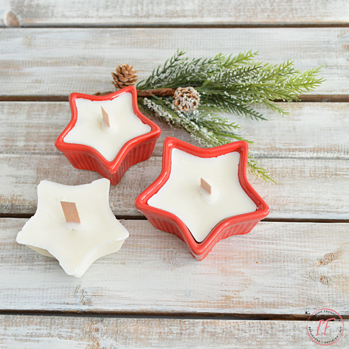 How to make homemade ramekin dish unscented soy candles with wood wicks plus extra soy candle molds in festive star-shaped dishes for the holidays.
