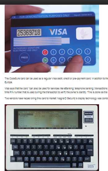 Mastercard and VISA are smart having a keyboard and LCD screen
