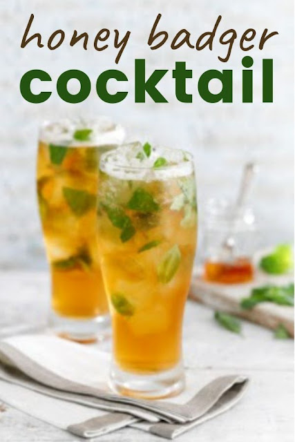Honey Badger Cocktail is a refreshing cocktail made with light and crisp beer, honey and basil. Perfect for summer BBQs and picnics. #cocktail #beercocktail #honey #basil #beer #picnicrecipes #BBQrecipes #picnicdrinks #BBQdrinks