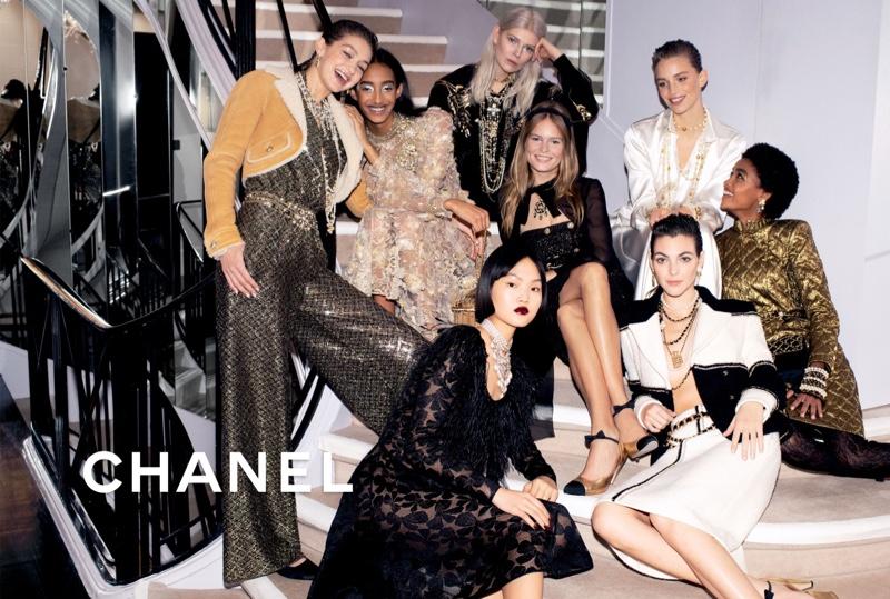 Gigi, Anna, Vittoria, Mona Charm in Chanel Pre-Fall 2020 Campaign