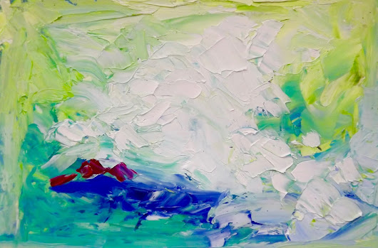 Waterworks - Original Oil Abstracton Paper by Marcy Brennan