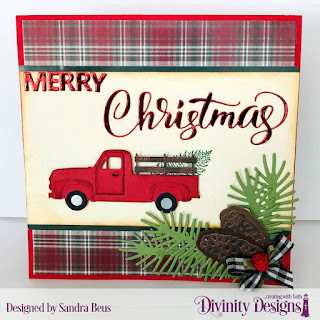 Stamp/Die Duos: Loads of Love, Custom Dies: Pickup Truck,  Merry Christmas, Pinecones & Pine Branches, Paper Collection: Rustic Christmas