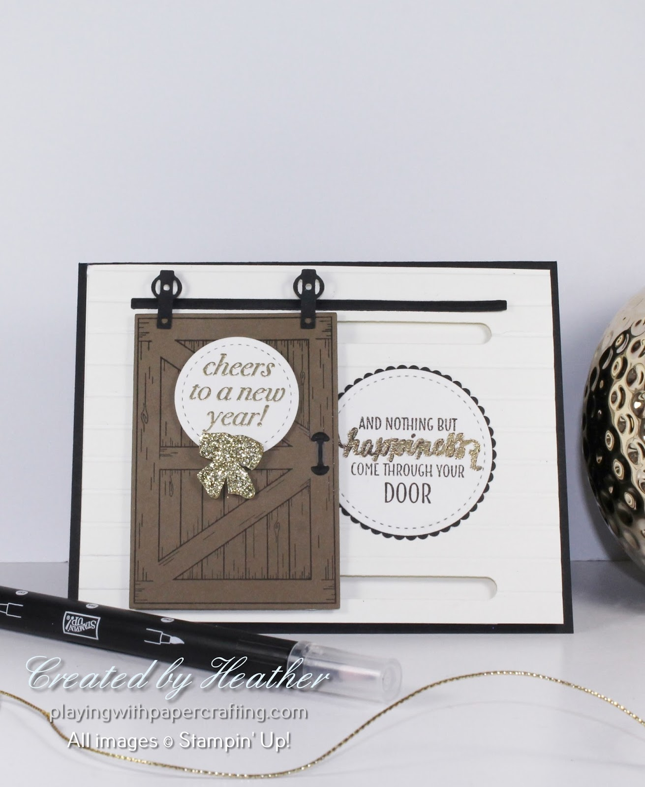 Playing With Papercrafting Shut The Barn Door And Happy New Year
