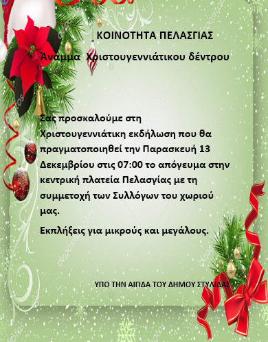 Πελασγία: Άναμμα Χριστουγεννιάτικου δέντρου