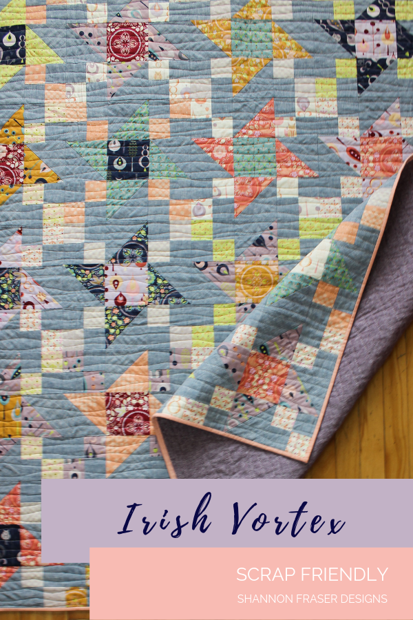 Fat quarter friendly quilt pattern | Fall Irish Vortex Quilt | Shannon Fraser Designs | #modernquilt #quiltpattern