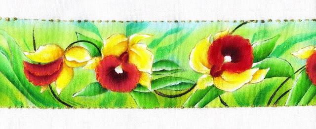 pintura em tecido flor orquidea