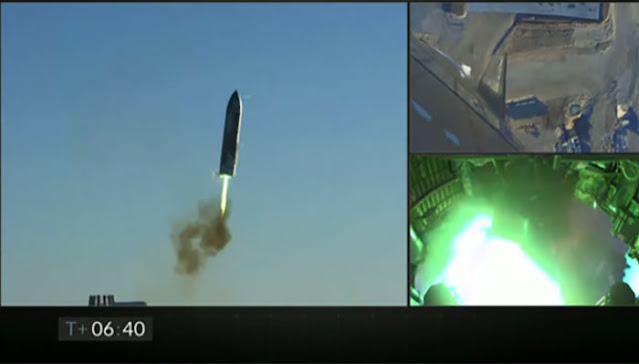 Starship SN8 returns for landing attempt at T = 06:40 minutes after launch.  (Source: SpaceX)