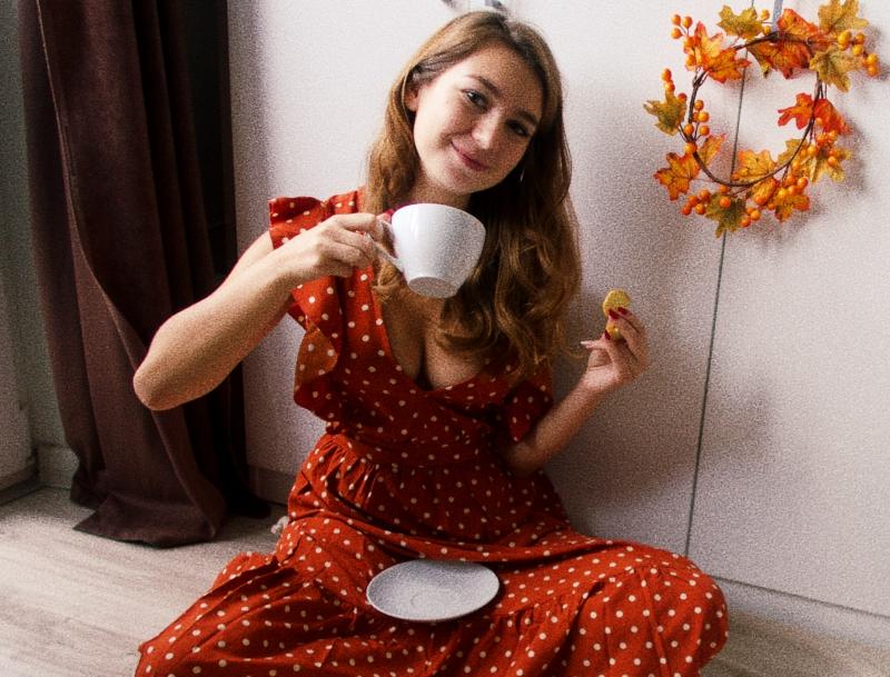 sukienka w kropki polka dot dress red czerwona