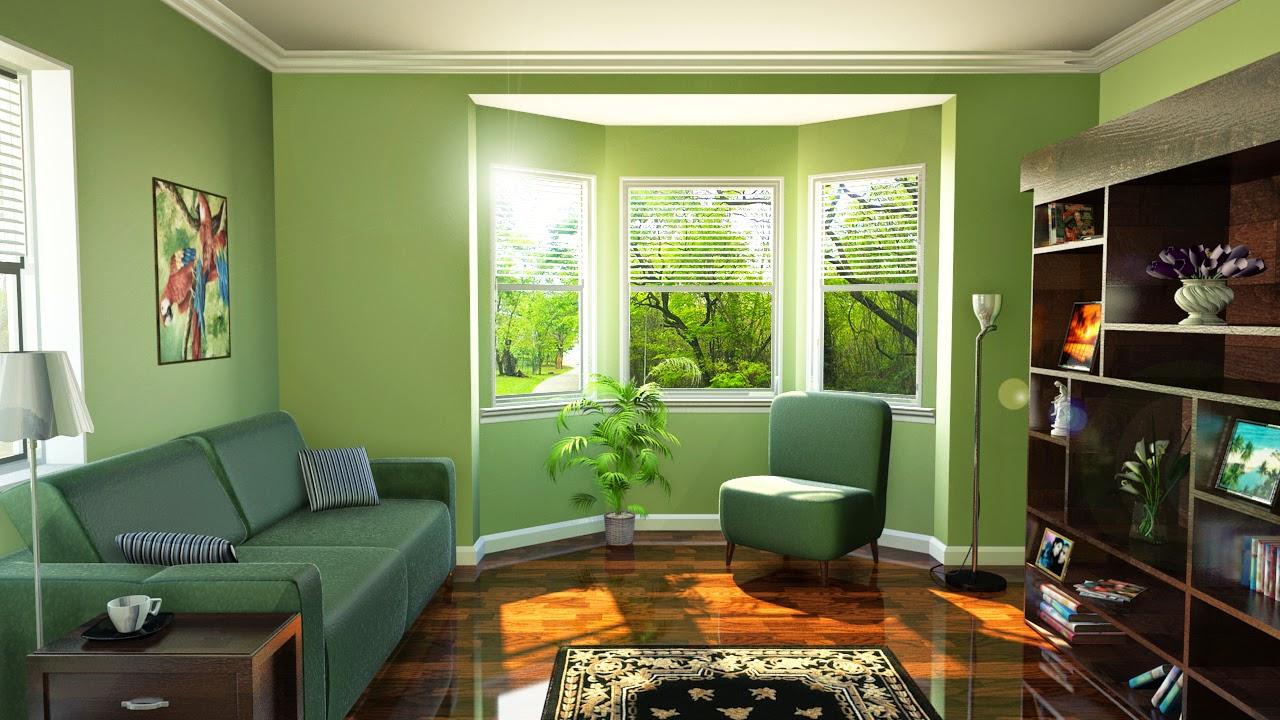 Decoraci n de salas en verde y marr n colores en casa for Color verde grisaceo para paredes