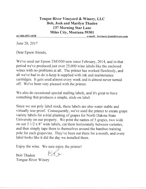 Letter from Tongue River Winery