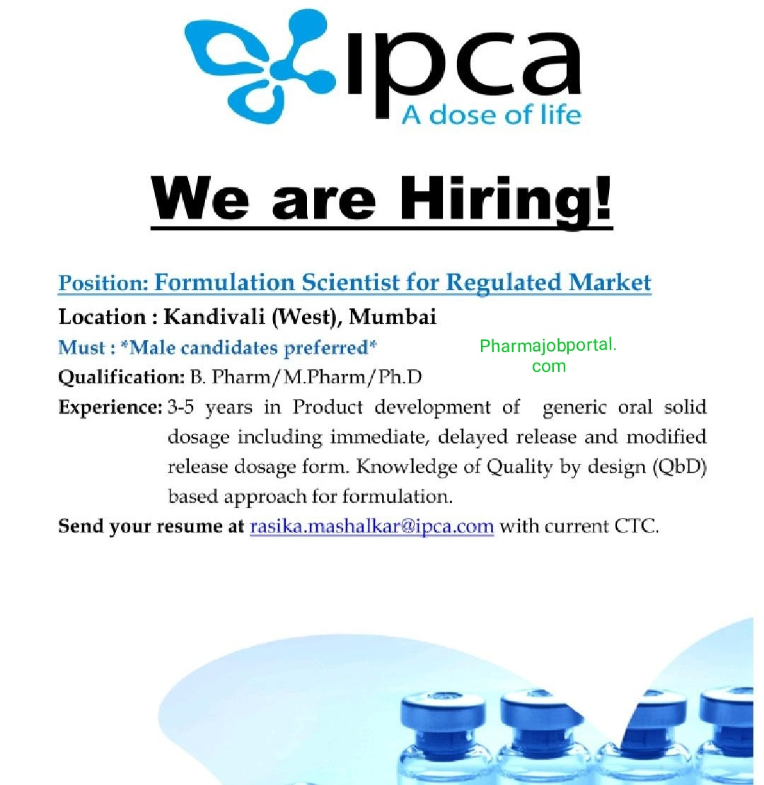 Job Opening at Ipca laboratories for formulation apply now