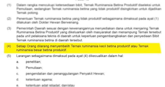 undang undang dilarang menyembelih ternak betina