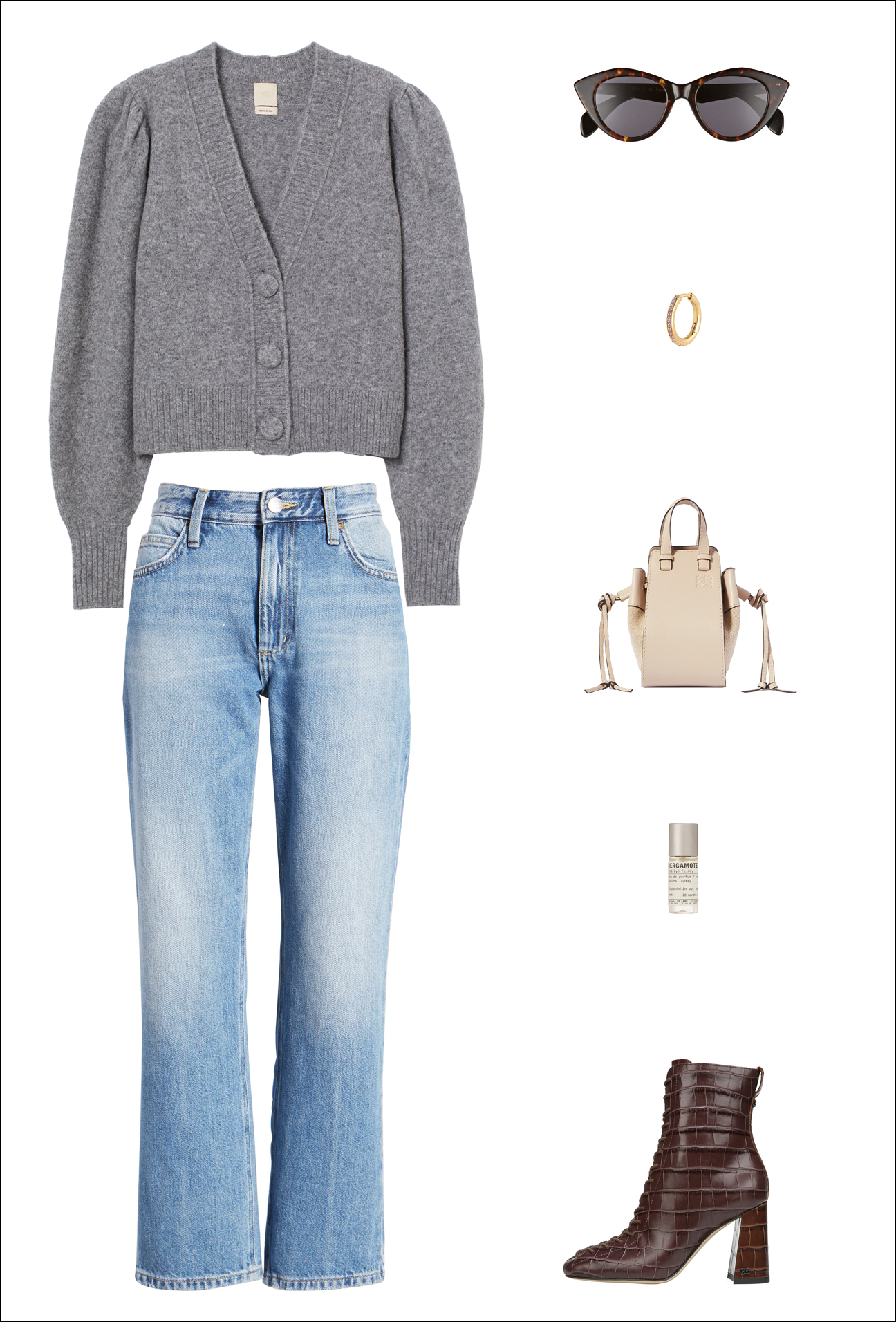 Cool Denim Fall Outfit — Gray Puff-Sleeve Cardigan, Cat-Eye Sunglasses, Huggie Earring, Loewe Hammock Bag, and Burgundy Croc Ankle Boots