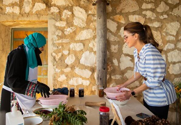 Queen Rania wore a new tie neck sleeve top by Tibi. The Queen visited Reef Spring Resorts in Ajloun, and met with Sawwah tourism platform