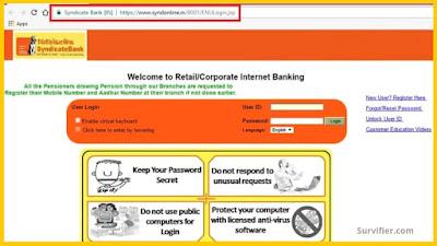 Syndicate bank Net Banking Website