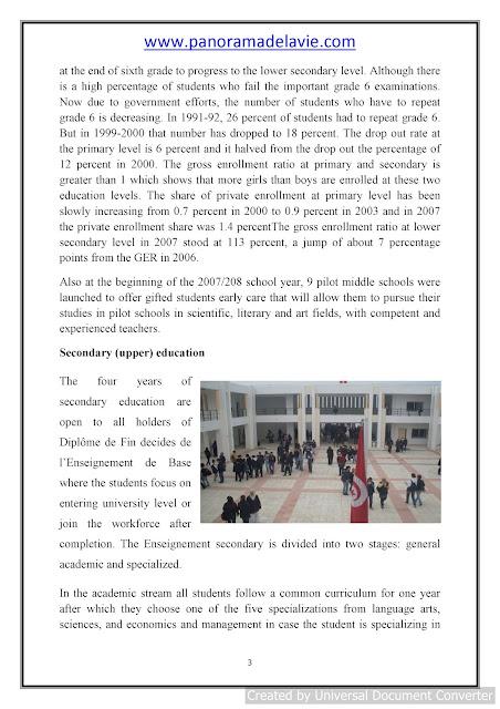 Education System of Tunisia